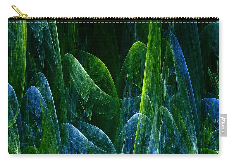 Abstract Tree Trees Wood Forest Green Blue Ice Frost Frosty Nature Expressionism Painting Fractal Carry-all Pouch featuring the painting Frosty Trees by Steve K