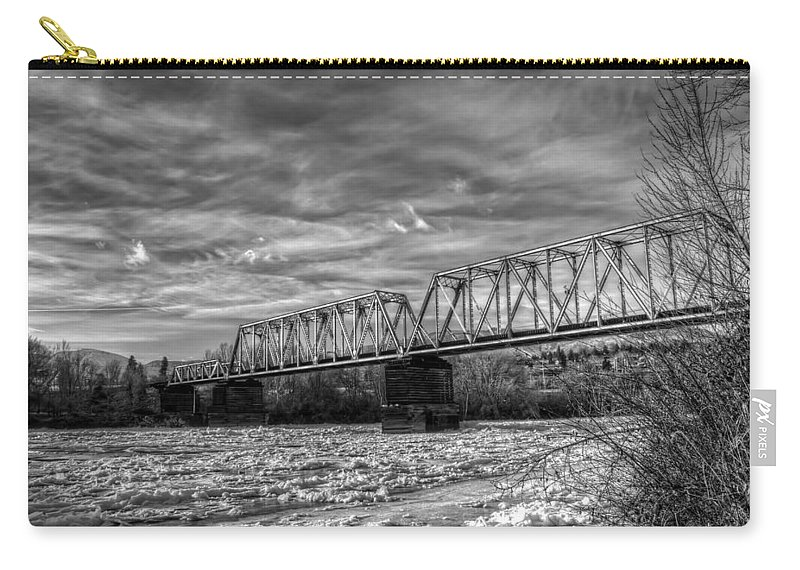 Hdr Carry-all Pouch featuring the photograph Frozen Tracks by Brad Granger