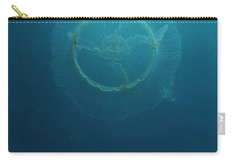 Wildlife Nature Ocean Blue Sea Carry-all Pouch featuring the photograph Full Moon Jelly by Kimberly Mohlenhoff
