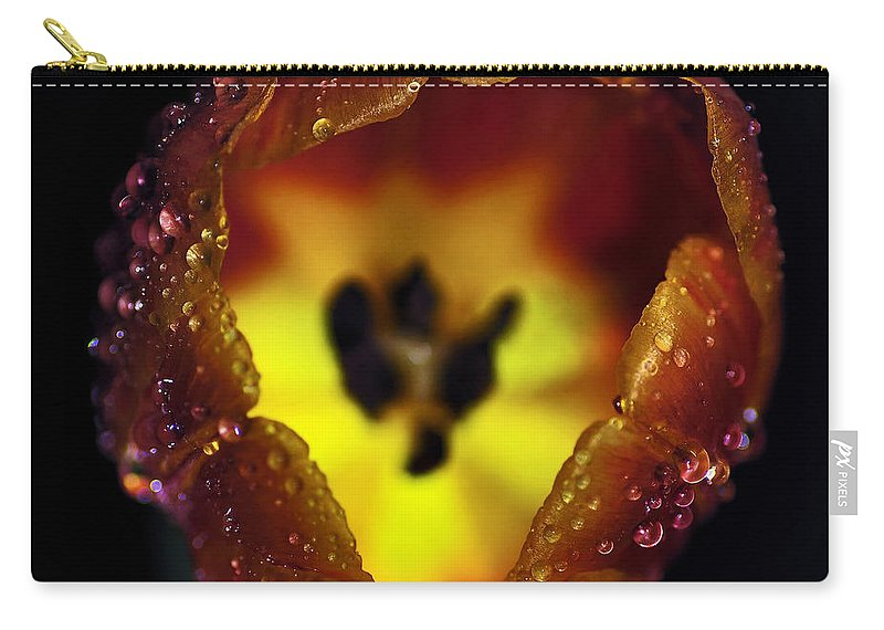 Photography Carry-all Pouch featuring the photograph Furnace In A Tulip by Kaye Menner