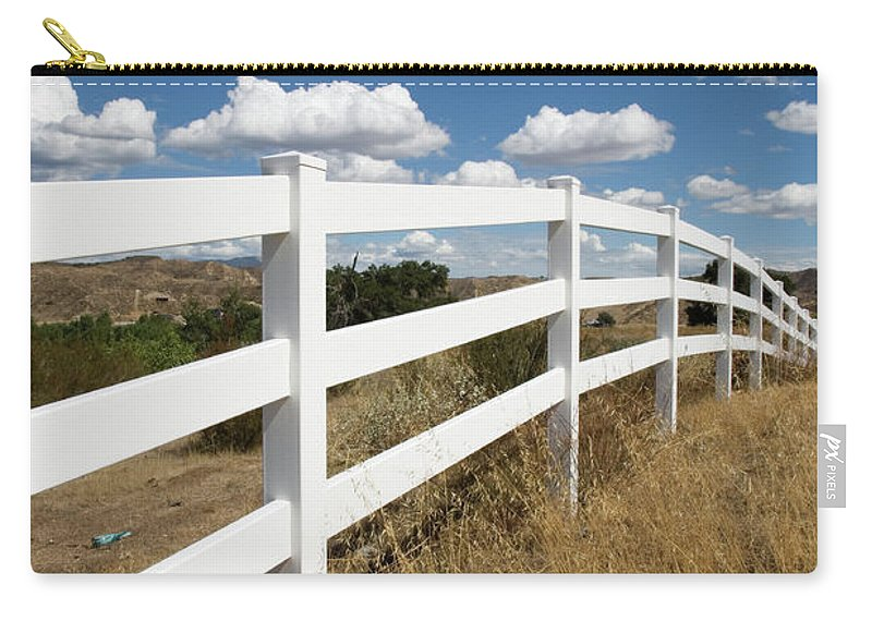 Clouds Carry-all Pouch featuring the photograph Galloping Fence by Peter Tellone