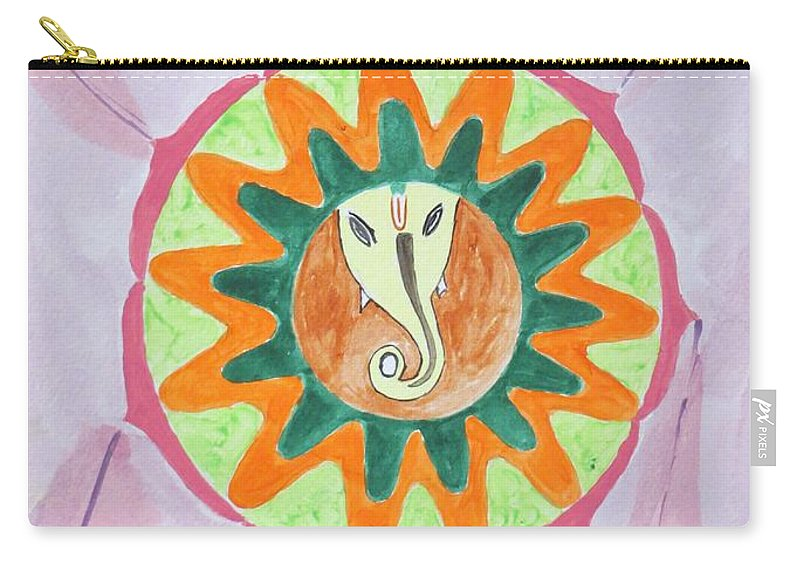 Ganesh In A Lotus Mandal Carry-all Pouch featuring the painting Ganesh Mandala by Sonali Gangane