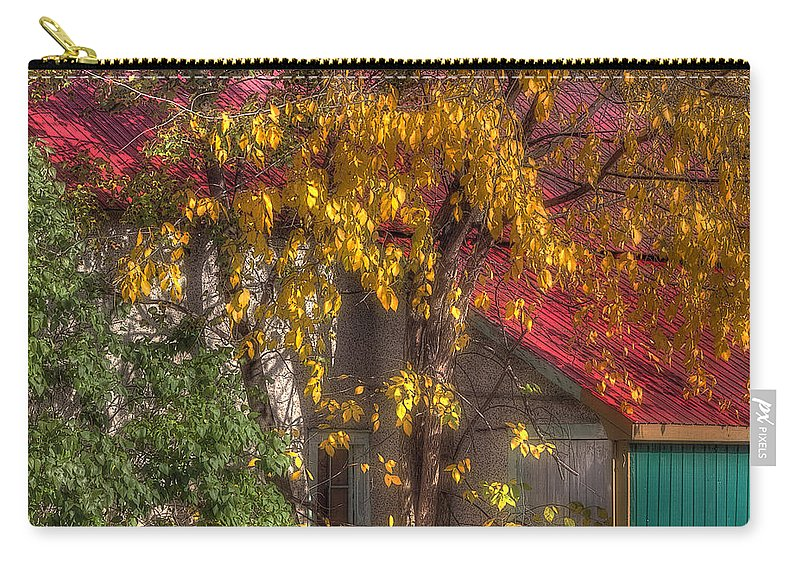 Acrylic Prints Carry-all Pouch featuring the photograph Garage And Leaves by John Herzog