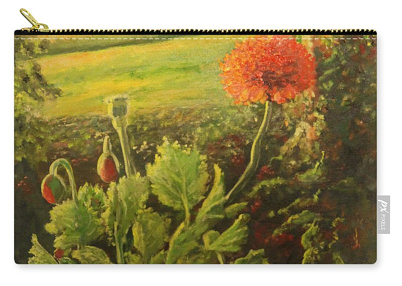 Poppies Carry-all Pouch featuring the painting Garden Poppies by Lorraine Vatcher