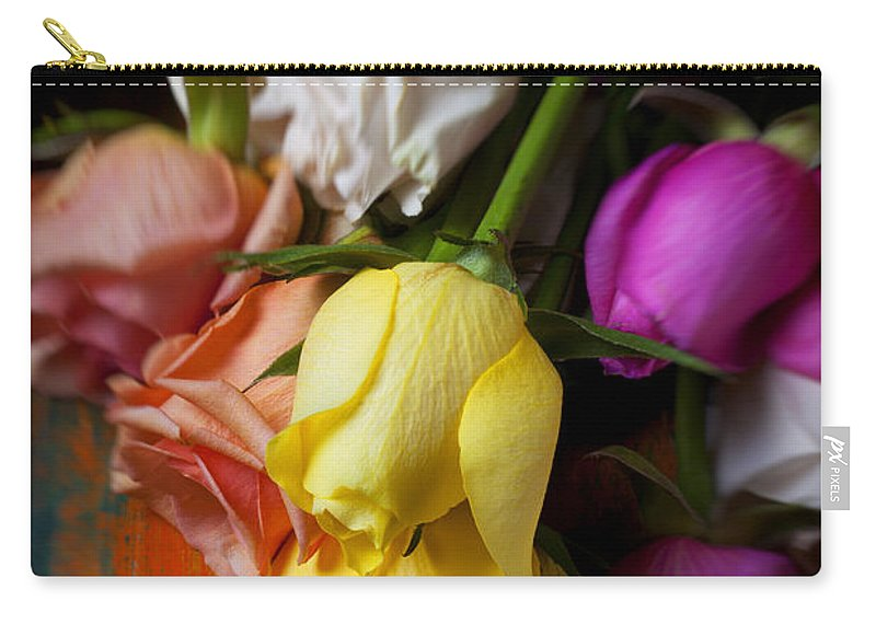 Yellow Carry-all Pouch featuring the photograph Garden Roses by Garry Gay