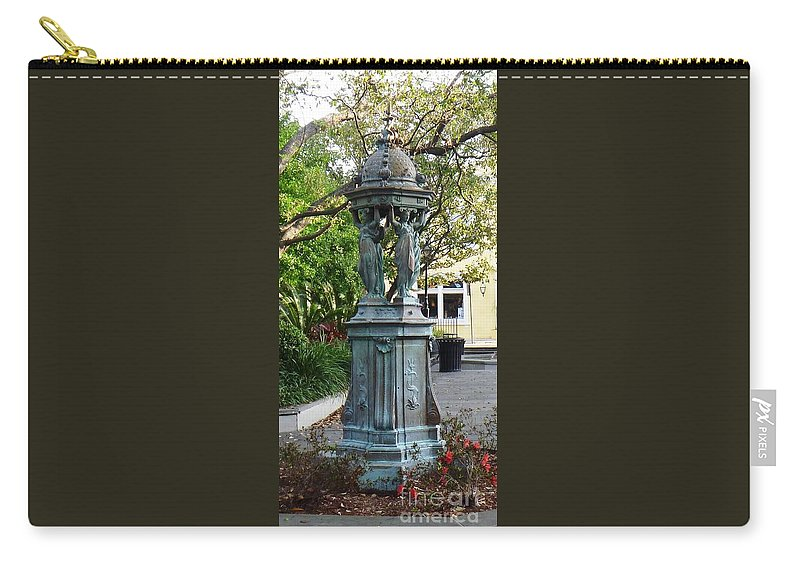 Photograph Carry-all Pouch featuring the photograph Garden Statuary In The French Quarter by Alys Caviness-Gober