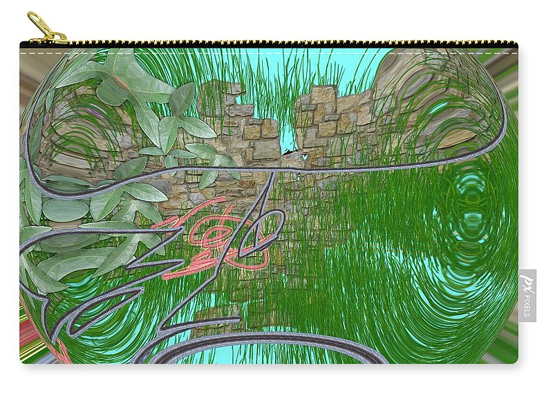 Stone Wall Carry-all Pouch featuring the digital art Garden Wall by George Pedro