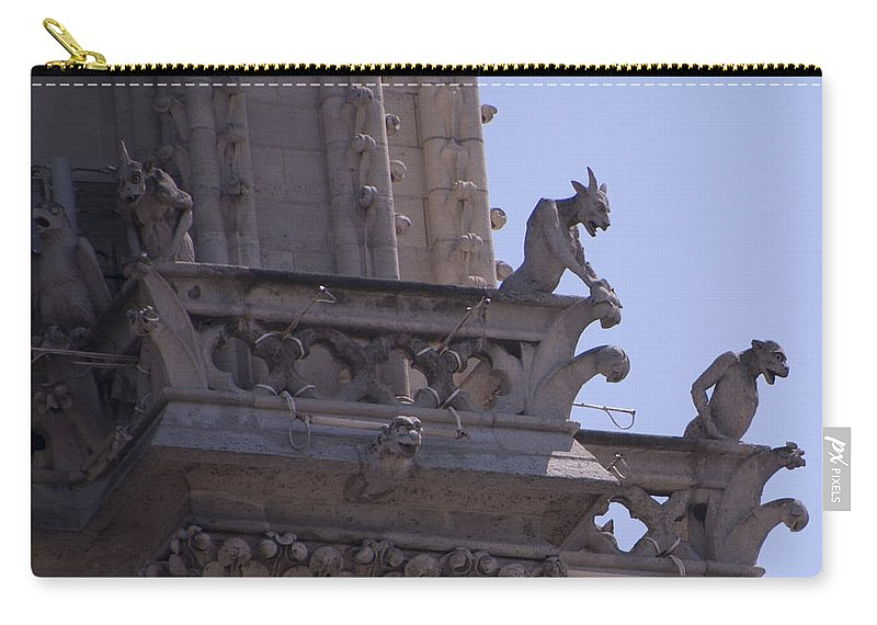 France Carry-all Pouch featuring the photograph Gargoyles At Notre Dame Cathedral by Jon Berghoff