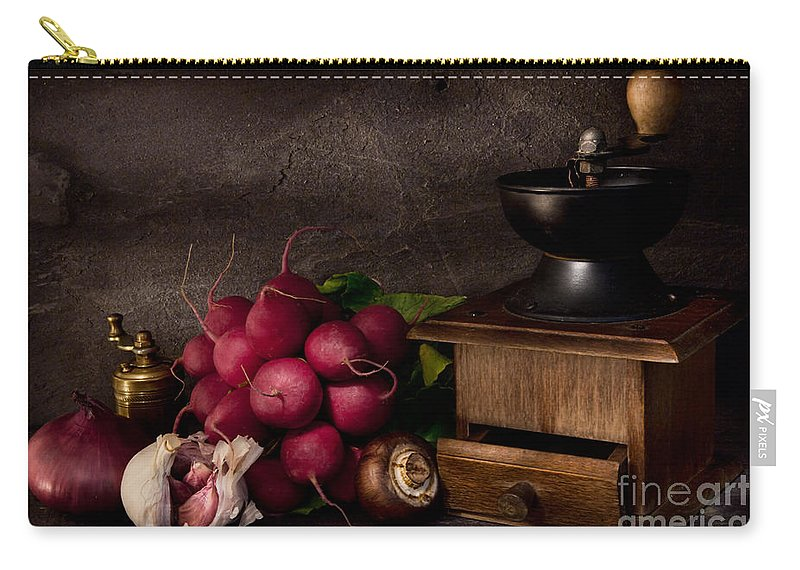Food Carry-all Pouch featuring the photograph Garlic And Radishes by Ann Garrett