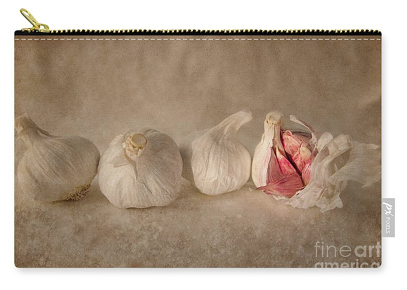 Garlic Carry-all Pouch featuring the photograph Garlic And Textures by Ann Garrett