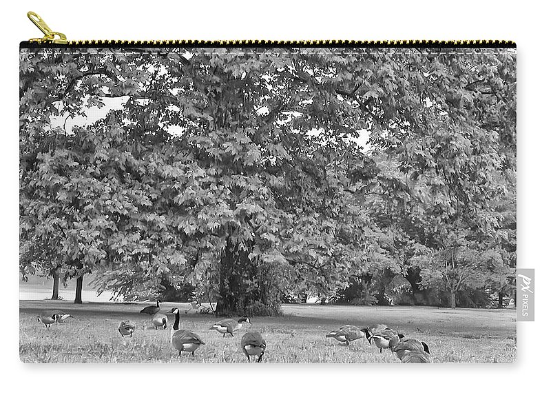 Geese Carry-all Pouch featuring the photograph Geese By The River by Bill Cannon
