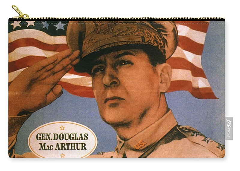 1940s Carry-all Pouch featuring the photograph General Douglas Macarthur by Granger