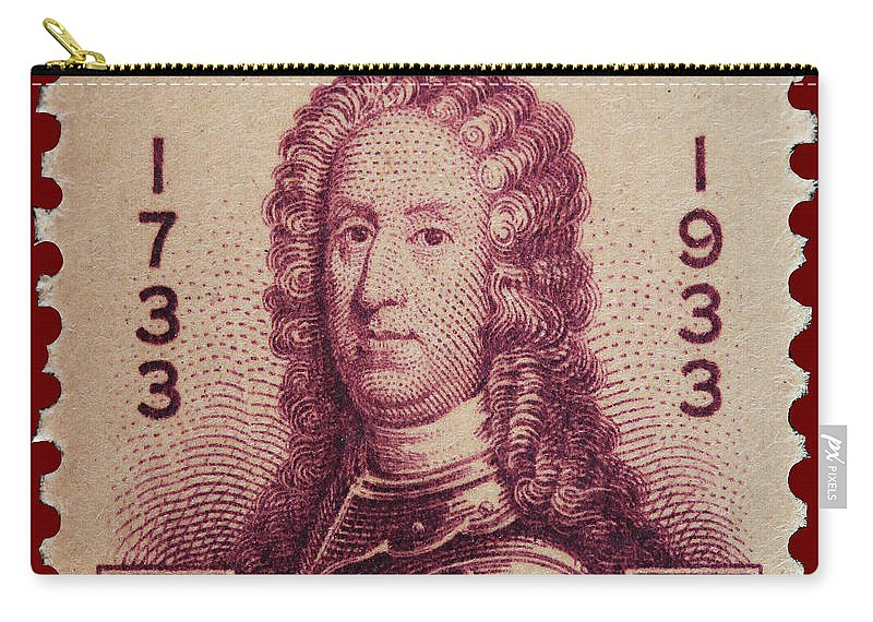 General James Oglethorpe Postage Stamp Carry-all Pouch featuring the photograph General James Oglethorpe Postage Stamp by James Hill