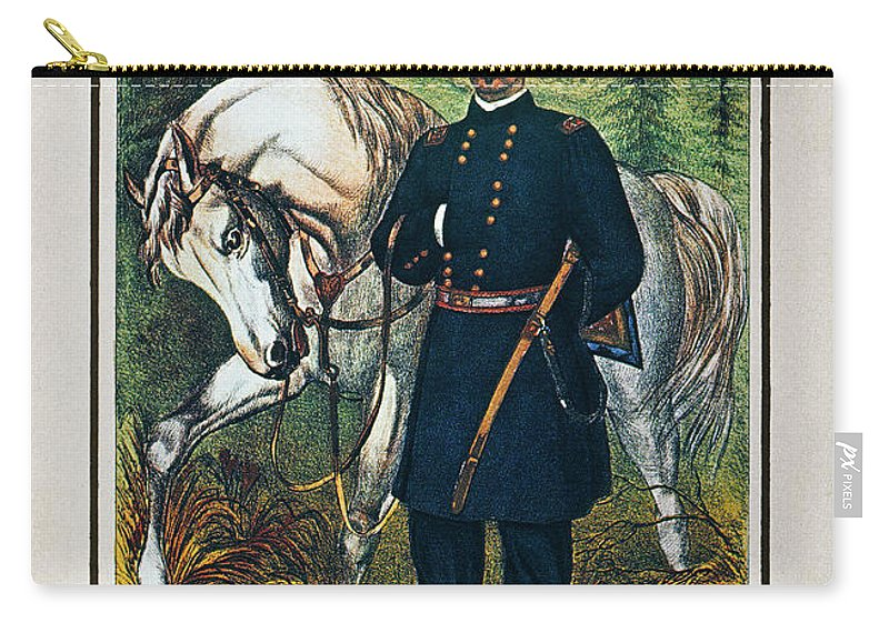 1864 Carry-all Pouch featuring the photograph George B. Mcclellan, 1864 by Granger