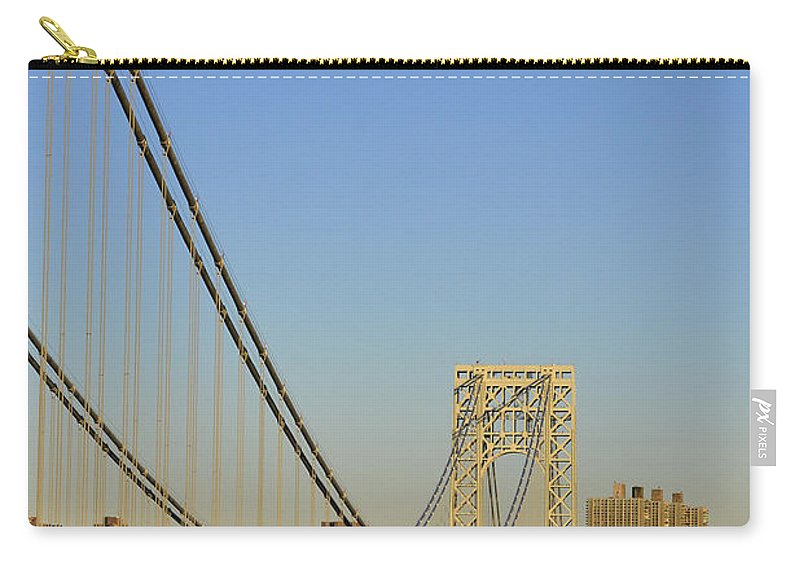 George Carry-all Pouch featuring the photograph George Washington Bridge And Boat by Zawhaus Photography