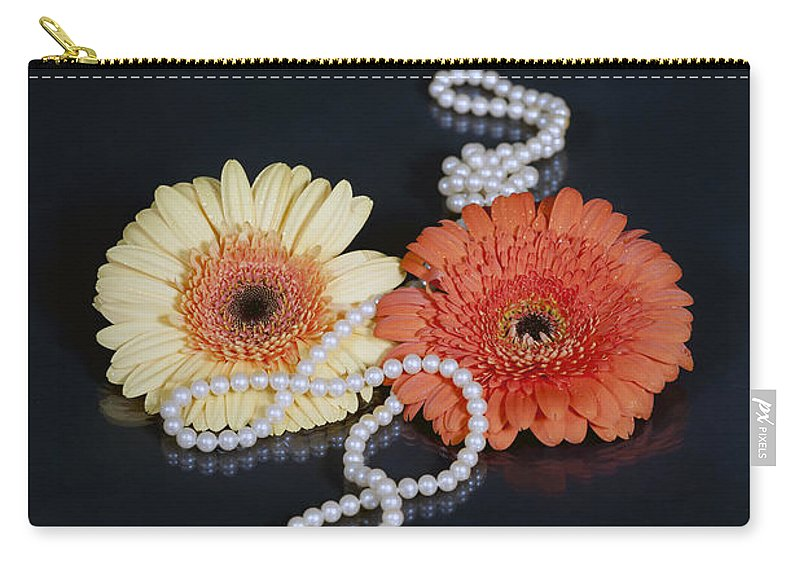 Gerbera Carry-all Pouch featuring the photograph Gerberas With Pearls by Joana Kruse