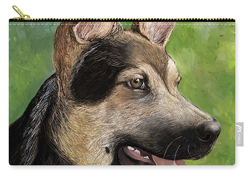 German Shepard Carry-all Pouch featuring the pastel German Shepard Puppy by Heidi Creed