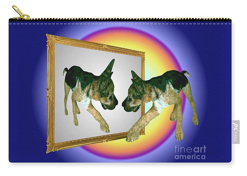 German Shepherds Carry-all Pouch featuring the digital art German Shepherd Puppy In Mirror by Smilin Eyes Treasures