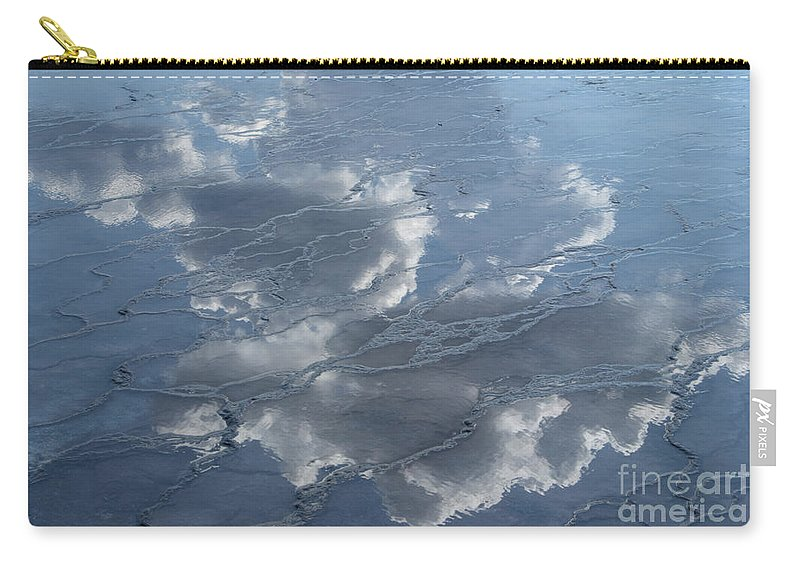 Yellowstone Carry-all Pouch featuring the photograph Geyser Basin Cloud Reflection by Sandra Bronstein