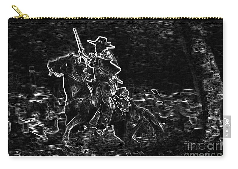 Horses Carry-all Pouch featuring the mixed media Ghost Rider by Kim Henderson