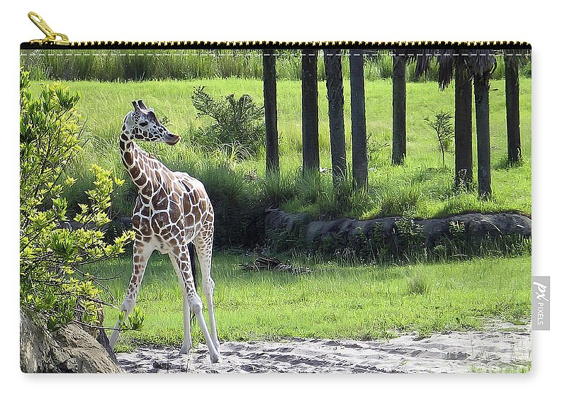 Animal Carry-all Pouch featuring the photograph Giraffe In Animal Kingdom by Teresa Zieba