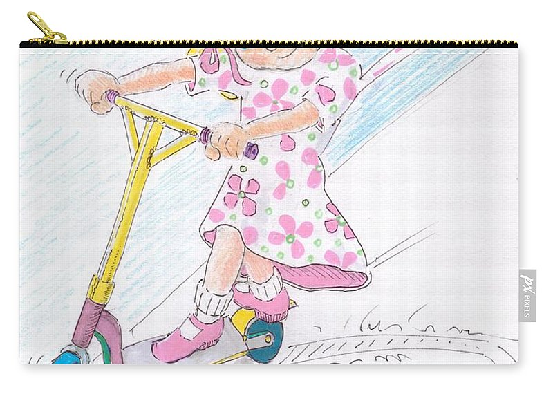Cartoon Carry-all Pouch featuring the drawing Girl On A Microscooter Cartoon by Mike Jory