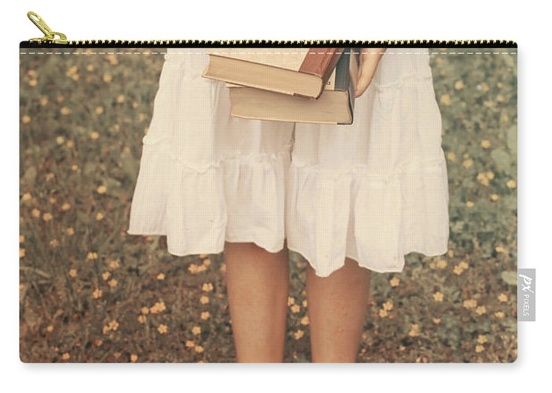 Girl Carry-all Pouch featuring the photograph Girl With Old Books by Joana Kruse