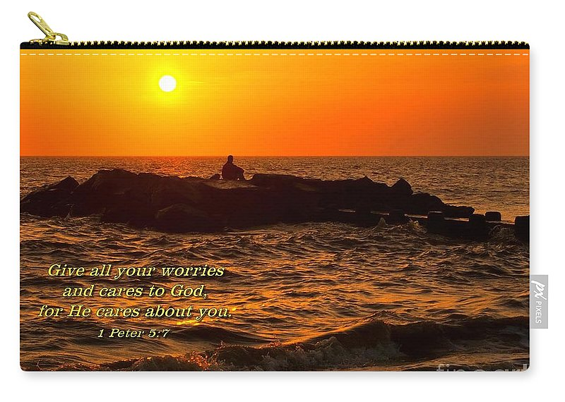 Sunset Carry-all Pouch featuring the photograph Give Your Cares To God by Nick Zelinsky