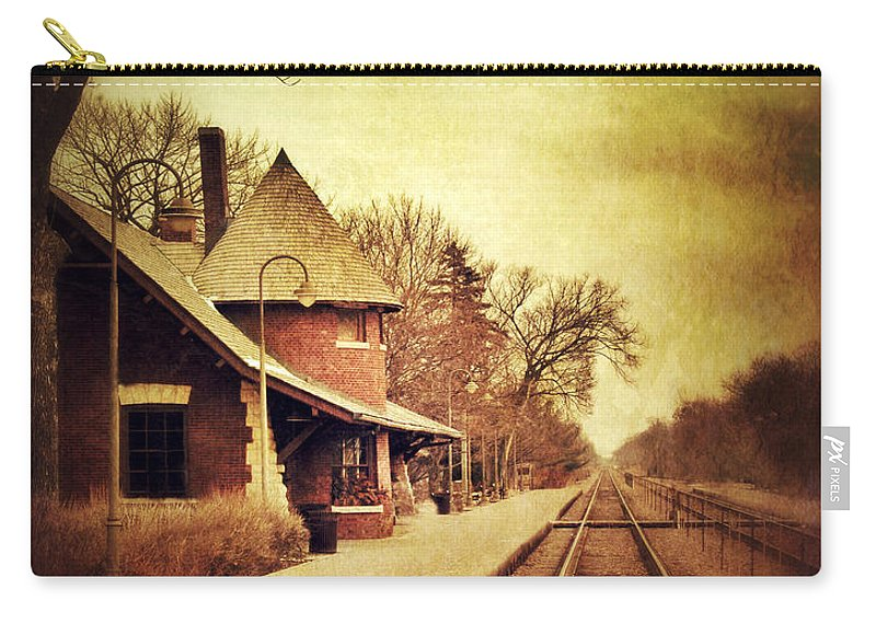 Station Carry-all Pouch featuring the photograph Glencoe Train Station by Jill Battaglia