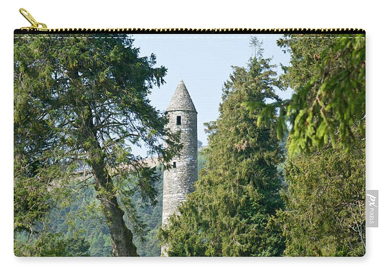 Round Carry-all Pouch featuring the photograph Glendalaugh Round Tower 11 by Douglas Barnett