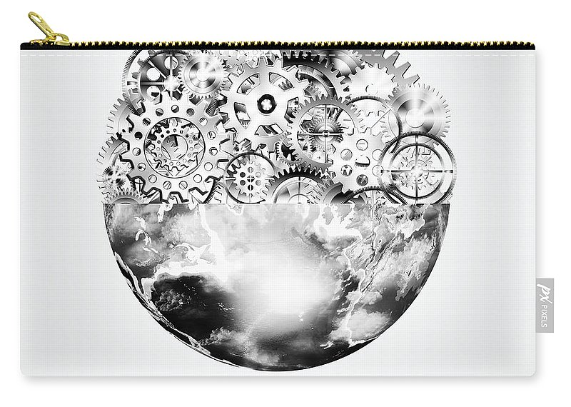 Art Carry-all Pouch featuring the photograph Globe With Cogs And Gears by Setsiri Silapasuwanchai