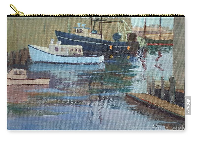 Gloucester Harbor Carry-all Pouch featuring the painting Gloucester Harbor by Claire Gagnon