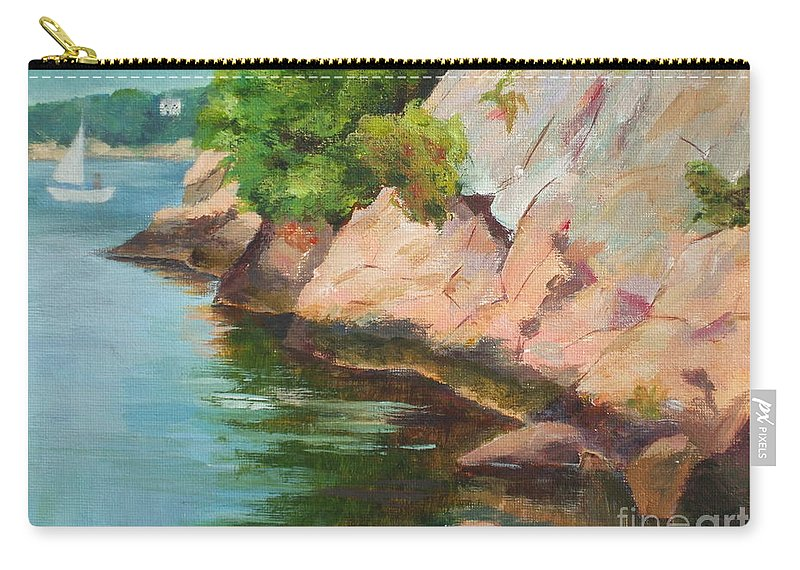 Summer Carry-all Pouch featuring the painting Gloucester Sail Boat by Claire Gagnon