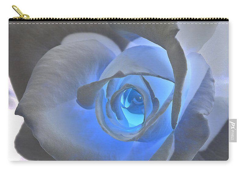 Rose Carry-all Pouch featuring the photograph Glowing Blue Rose by Phyllis Denton