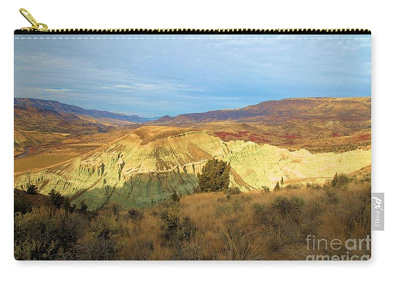 John Day Fossil Beds National Monument Carry-all Pouch featuring the photograph Glowing Mountain by Adam Jewell