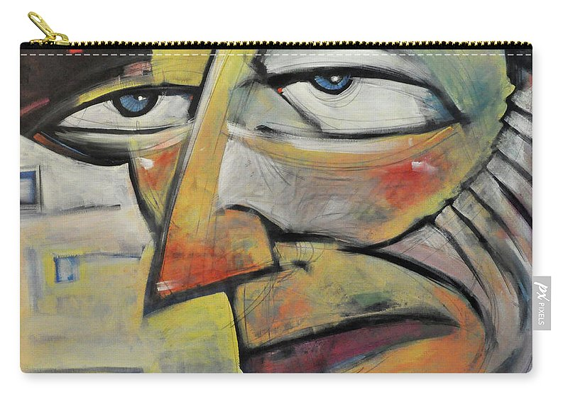 Face Carry-all Pouch featuring the painting Glum by Tim Nyberg