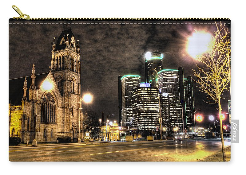 Carry-all Pouch featuring the photograph Gm Building Detroit Mi by Nicholas Grunas