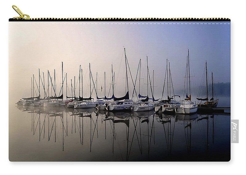 Gold Fog Blue Fog Sun Rise Sailboatssailboat Blues Carry-all Pouch featuring the photograph Gold N Blue Sailboats Too by Randall Branham
