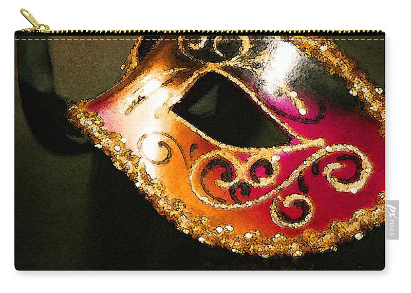 Masquerade Carry-all Pouch featuring the photograph Gold Scroll Masquerade Mask by Faith Gauthier