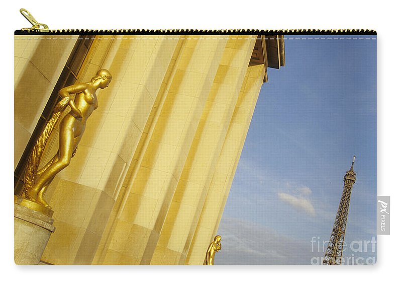 Paris Carry-all Pouch featuring the photograph Gold Statue . Trocadero. Paris by Bernard Jaubert