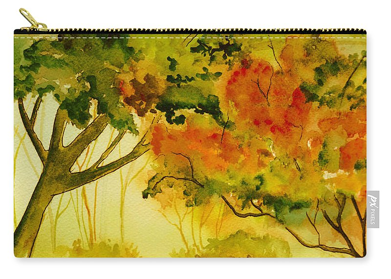 Watercolor Carry-all Pouch featuring the painting Golden Autumn Day by Brenda Owen