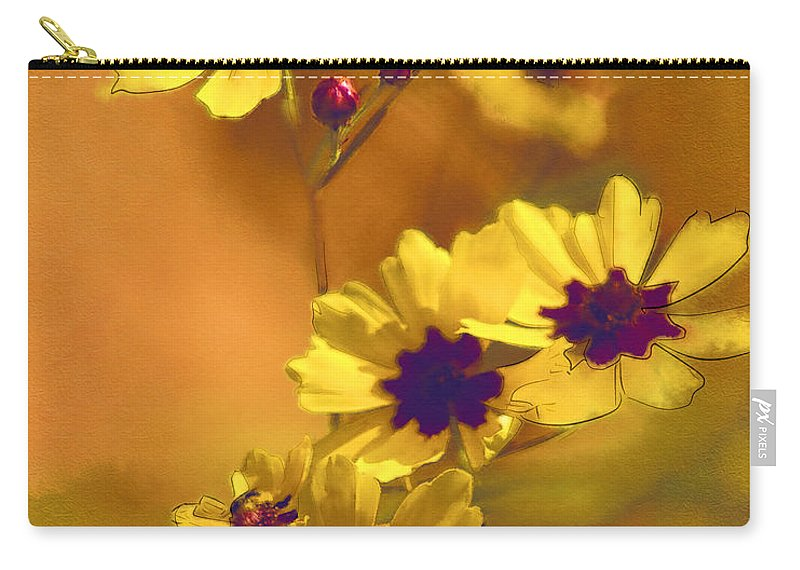 Coreopsis Tinctoria Carry-all Pouch featuring the photograph Golden Coreopsis Wildflowers by Kathy Clark
