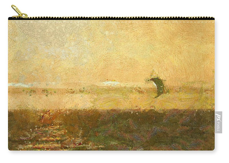 Golden Day Painterly Carry-all Pouch featuring the digital art Golden Day Painterly by Ernie Echols