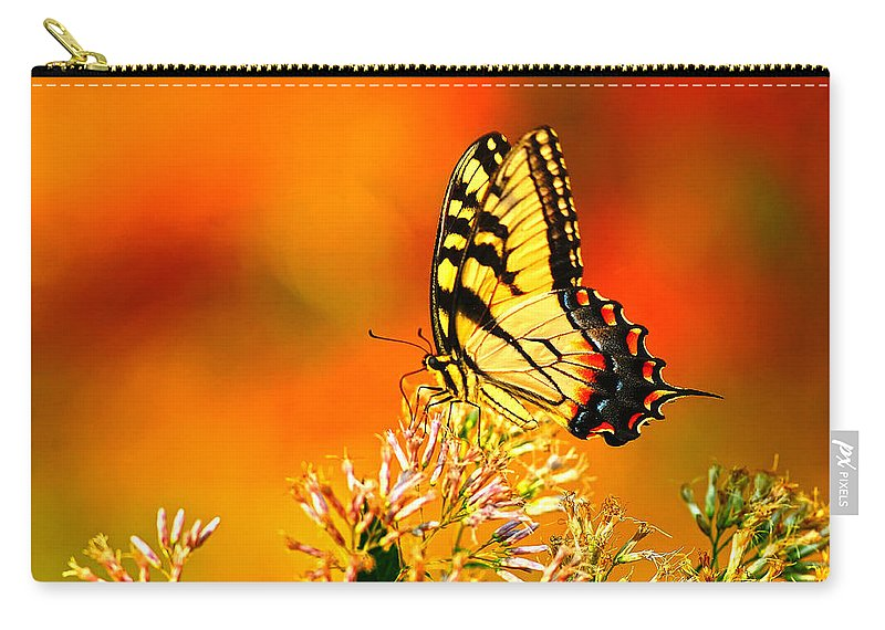 Yellow Swallowtail Carry-all Pouch featuring the photograph Golden Flying Flower by Randall Branham