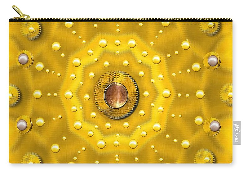 Flower Carry-all Pouch featuring the mixed media Golden Mandala With Pearls by Pepita Selles