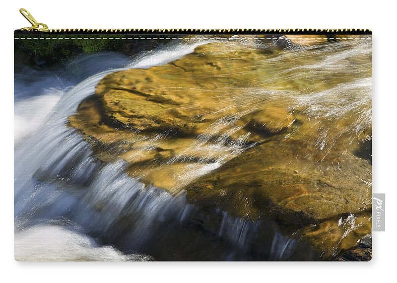 Glacier National Park Carry-all Pouch featuring the photograph Golden Waterfall Glacier National Park by Rich Franco