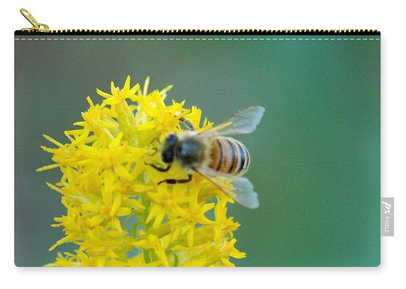Flowers Bee Honey Bee Carry-all Pouch featuring the photograph Goldenrod Visitor 3 by Michael Peychich