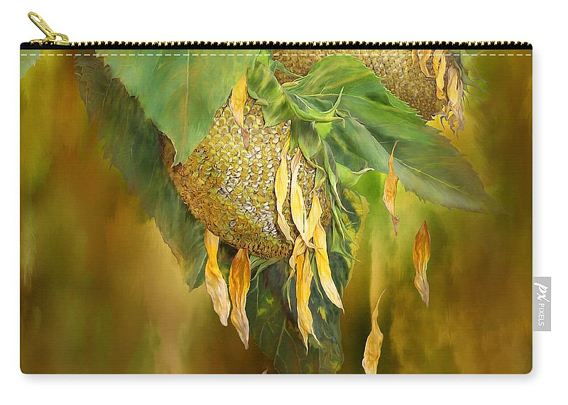 Sunflower Carry-all Pouch featuring the mixed media Goodbye Sunshine - Square by Carol Cavalaris
