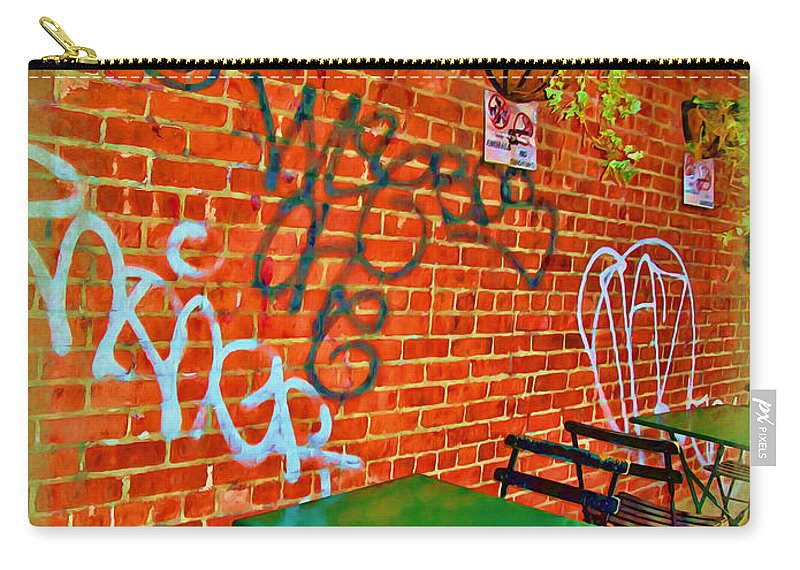 Grafitti Carry-all Pouch featuring the photograph Grafitti Dining by Joan Minchak