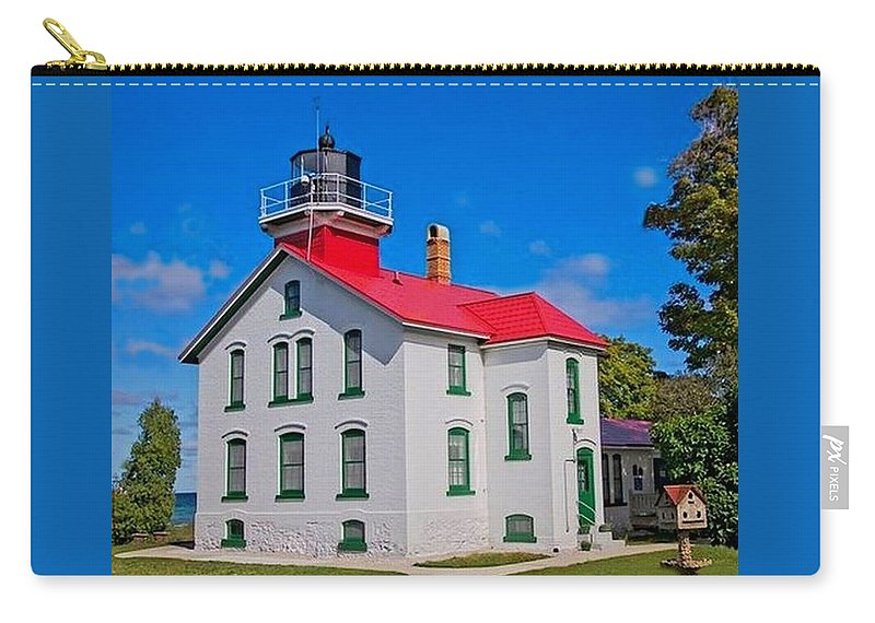 Grand Traverse Lighthouse Carry-all Pouch featuring the photograph Grand Traverse Lighthouse by Ted Lepczynski